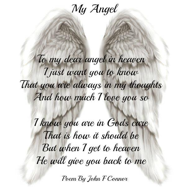 My angel - To my dear angel in heaven I just want you to know that you are always in my thoughts and how much I love you so. I know you are...
