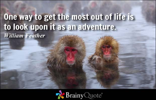 One way to get the most out of life is to look upon it as an adventure - William Feather