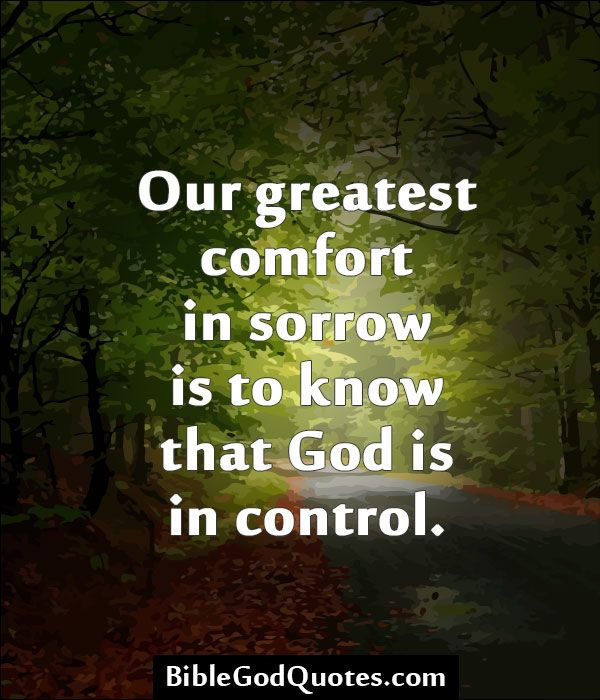 Our greatest comfort in sorrow is to know that God is in control