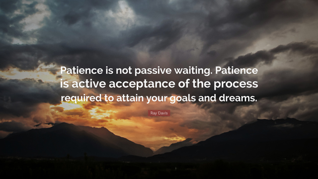 Patience is not passive waiting. Patience is active acceptance of the process required to attain your goals and dreams. Ray Davis