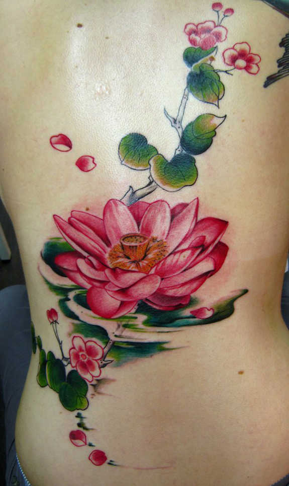 Pink Ink Lotus Flower In Water Tattoo On Full Back