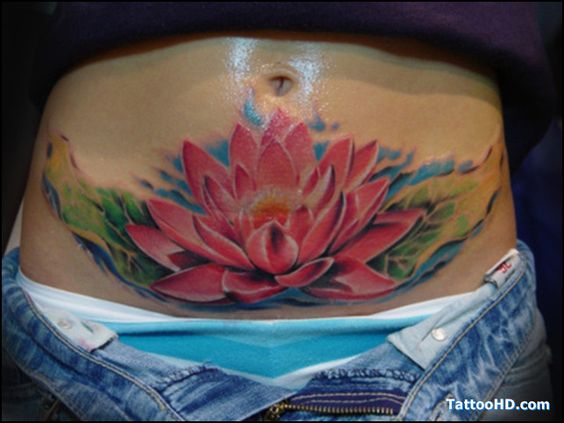 Pink Ink Lotus Flower In Water Tattoo On Girl Stomach