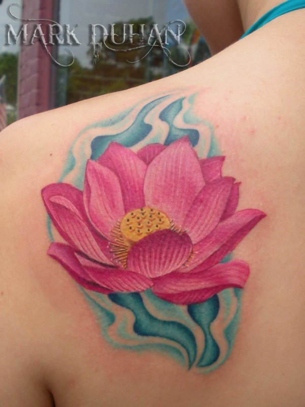 Pink Ink Lotus Flower In Water Tattoo On Left Back By Mark Duhan