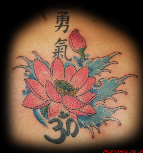 Pink Ink Lotus Flower In Water With Om Tattoo Design