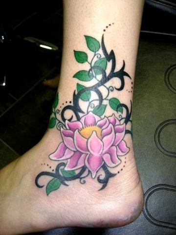 Pink Ink Lotus Flower Tattoo On Left Foot Ankle