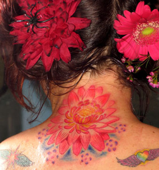 Pink Ink Lotus Flower Tattoo On Women Back Neck
