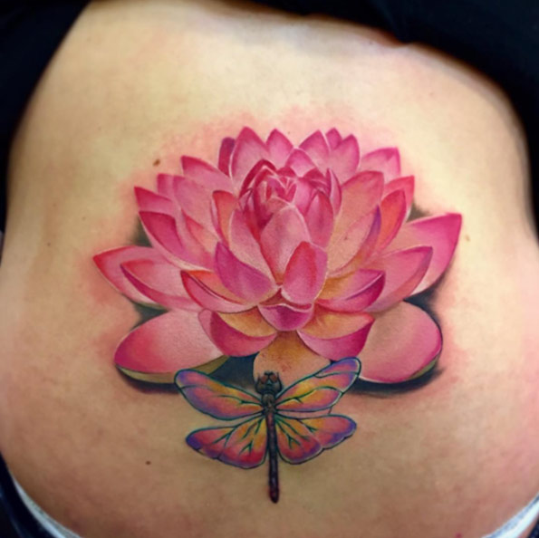 Pink Ink Lotus Flower With Dragonfly Tattoo On Right Back Shoulder