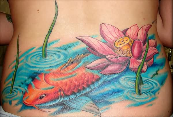 Pink Ink Lotus Flower With Koi Fish Tattoo On Lower Back
