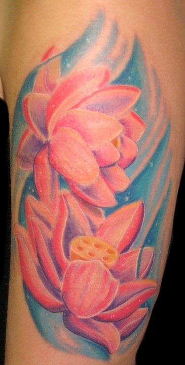 Pink Ink Lotus Flowers In Water Tattoo On Left Half Sleeve