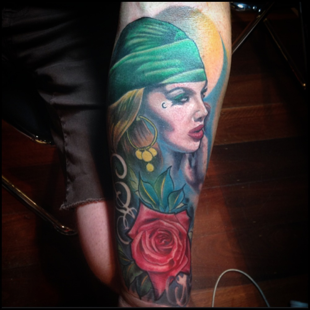 Pirate Girl Face With Rose Tattoo On Left Forearm By Fabz