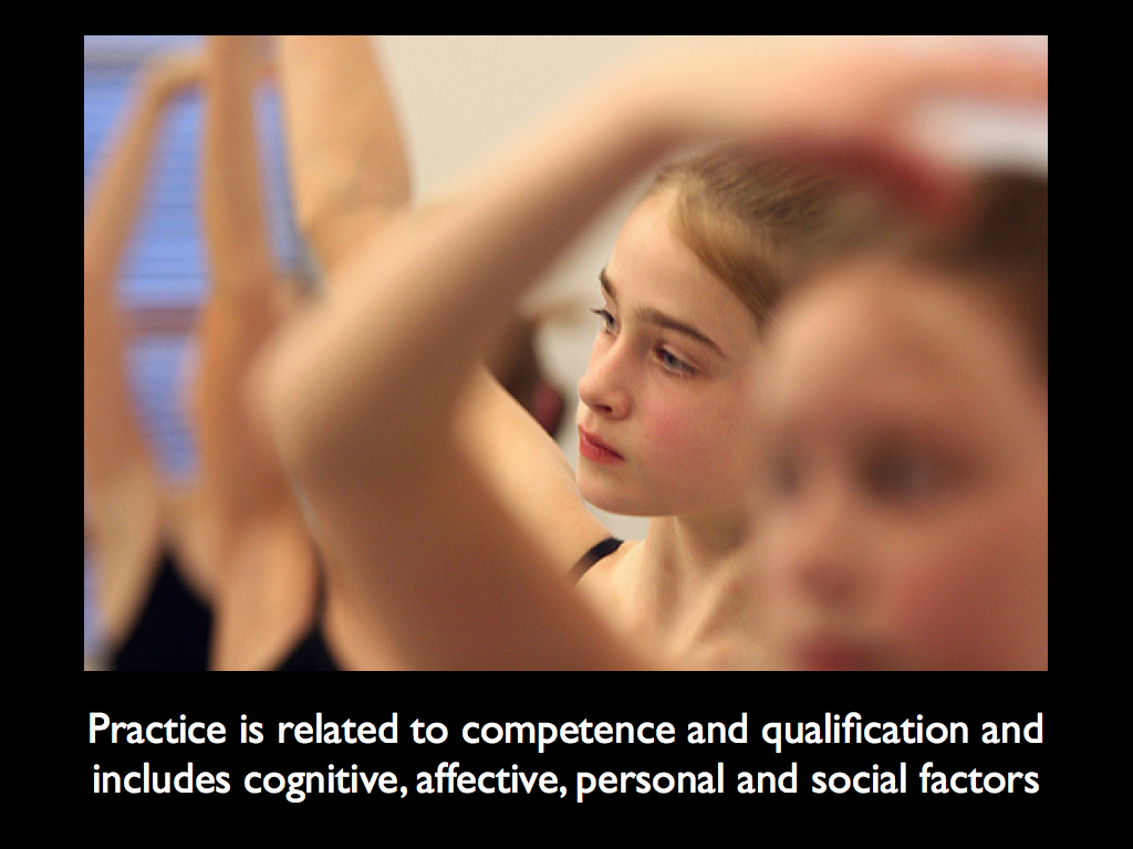Practice is related to competence and qualification and includes cognitive, affective, personal and social factors