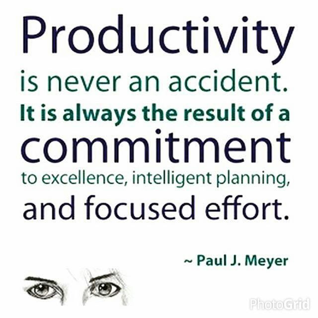 Productivity is never an accident. It is always the result of a commitment to excellence, intelligent planning, and focused effort. Paul J. Meyer