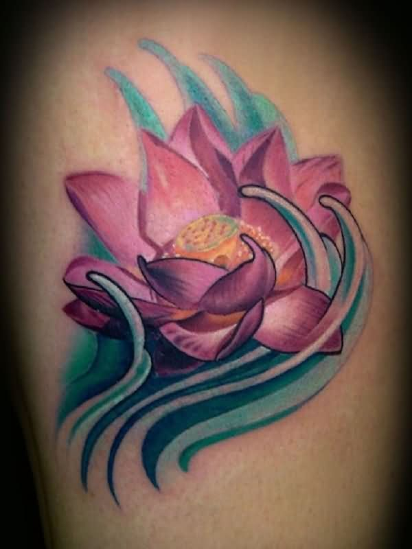 Purple Ink Lotus Flower In Water Tattoo Design