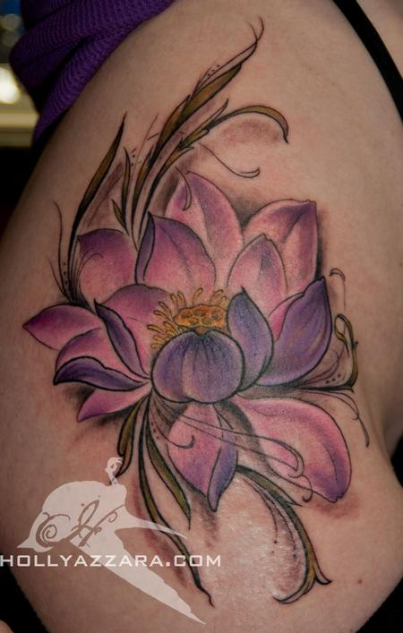 Purple Ink Lotus Flower Tattoo On Girl Right Hip By Holly Azzara