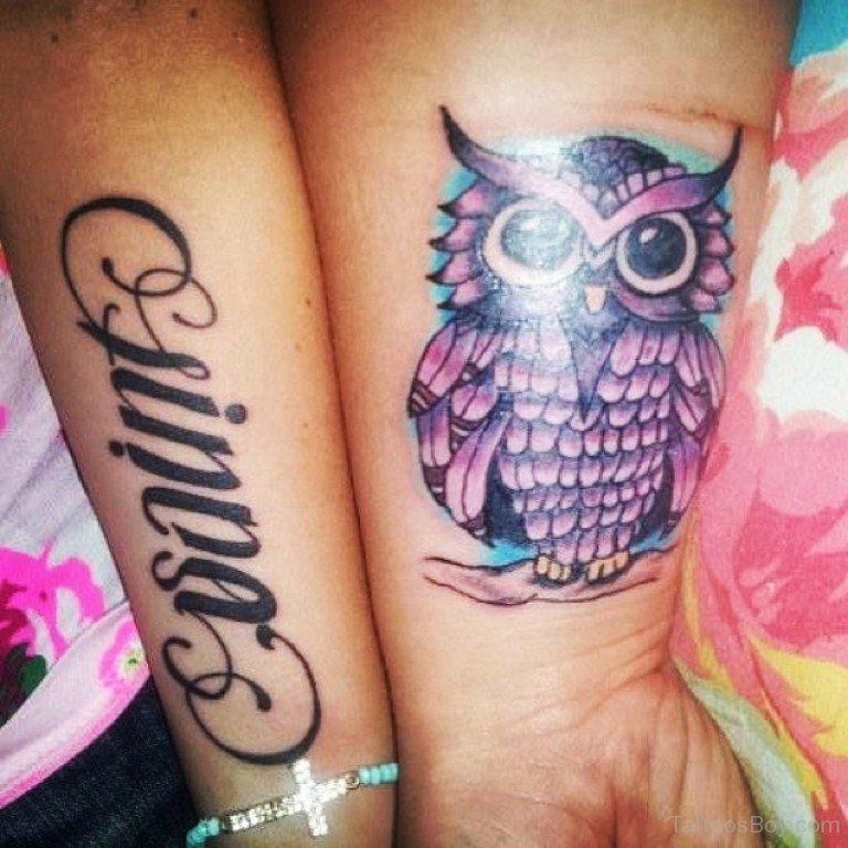 Purple Ink Owl Tattoo On Wrist
