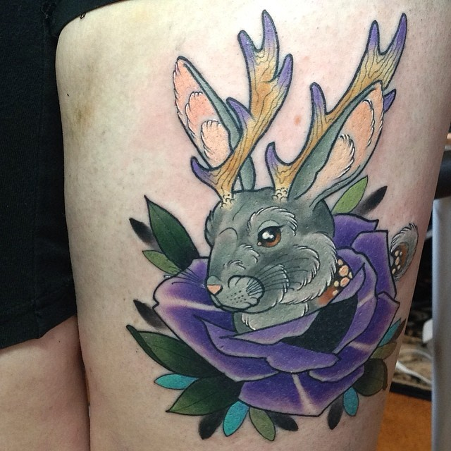 Rabbit With Purple Rose Tattoo On Left Thigh By Kitty Dearest