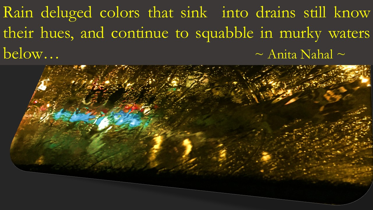 Rain Deluged colors that sink into drains still know their hues, and continue to squabble in murky waters below. Anita Nahal