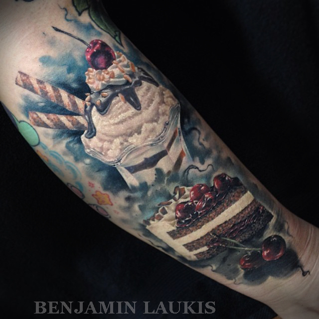 Realistic Ice Cream Tattoo On Left Forearm By Benjamin Laukis