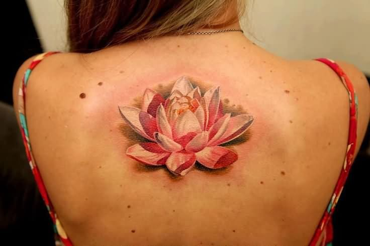 Realistic Lotus Flower In Water Tattoo On Girl Upper Back