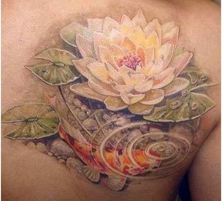 Realistic Lotus Flower In Water With Koi Fish Tattoo On Right Back Shoulder