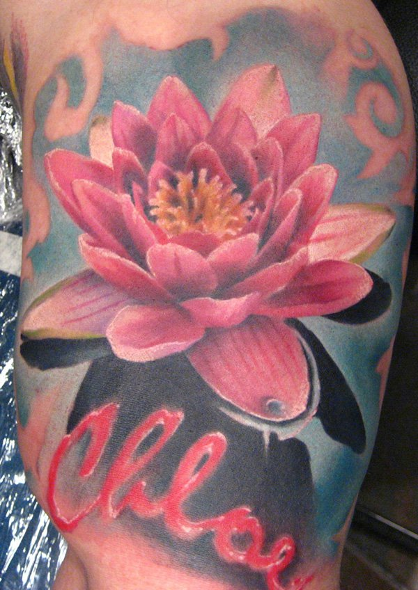 Realistic Lotus Flower Tattoo Design For Thigh