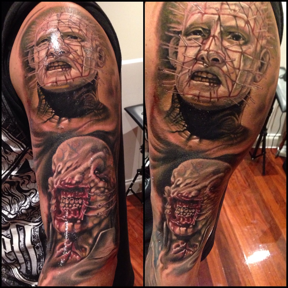 Realistic Pinhead Tattoo On Man Left Half Sleeve By Fabz