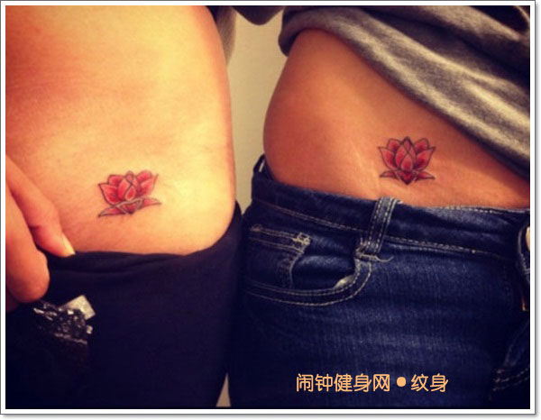Red Ink Lotus Flower Tattoo On Couple Hip