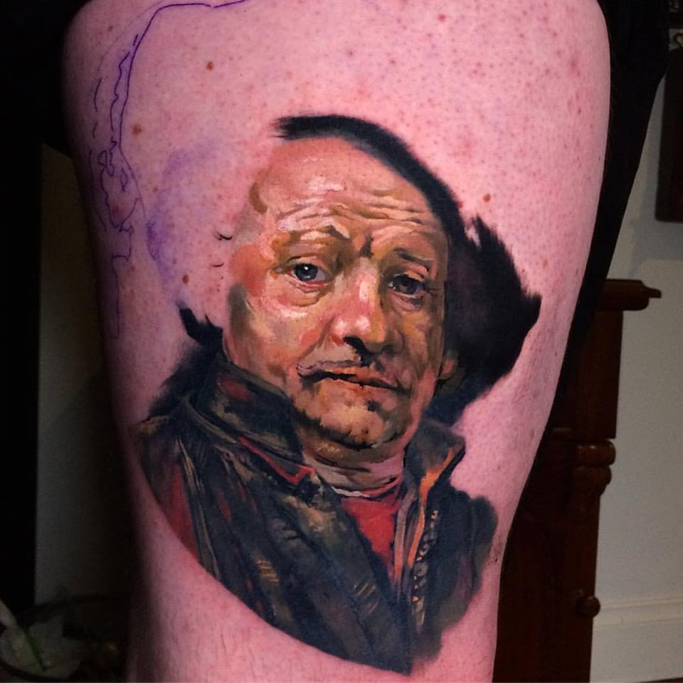 Rembrandt Portrait Tattoo On Man Right Half Sleeve By Crispy Lennox