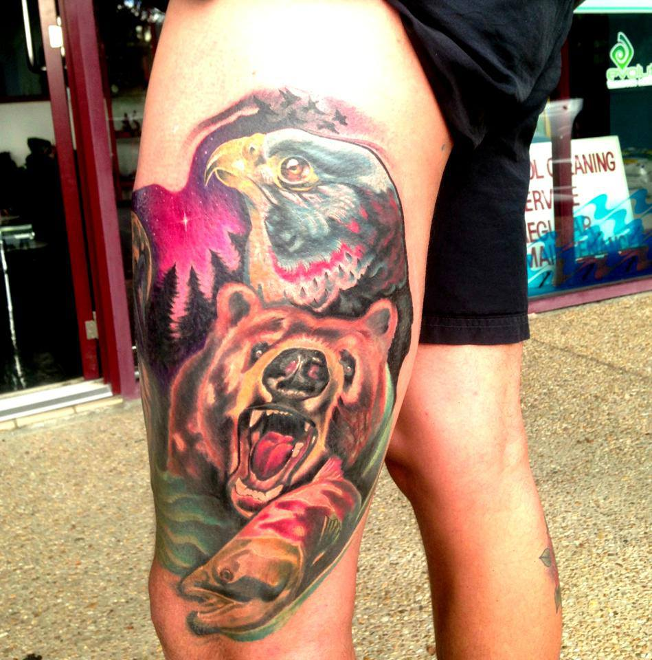 Roaring Bear With Eagle Tattoo On Left Side Thigh By Fabz