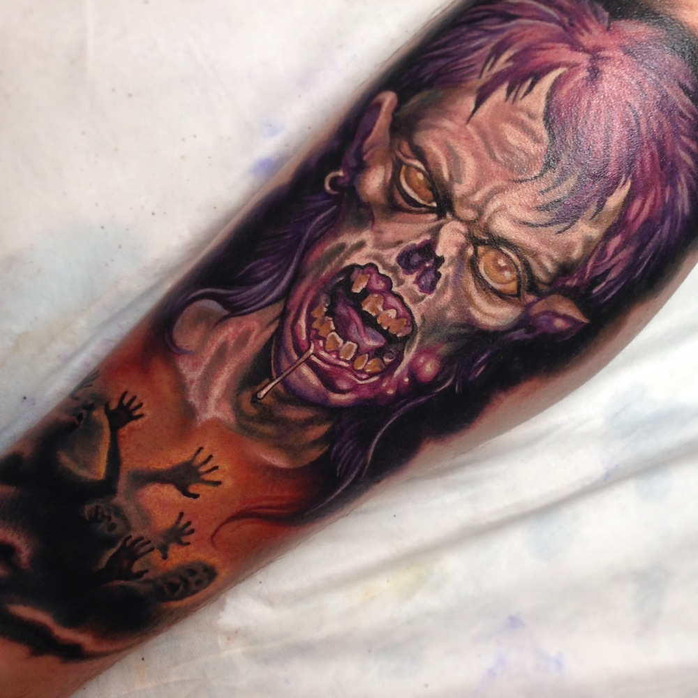 Scary Zombie Face Tattoo On Right Forearm By Fabz