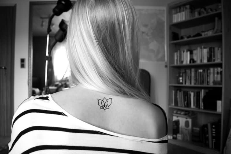 Simple Black Outline Lotus Tattoo On Girl Back Neck