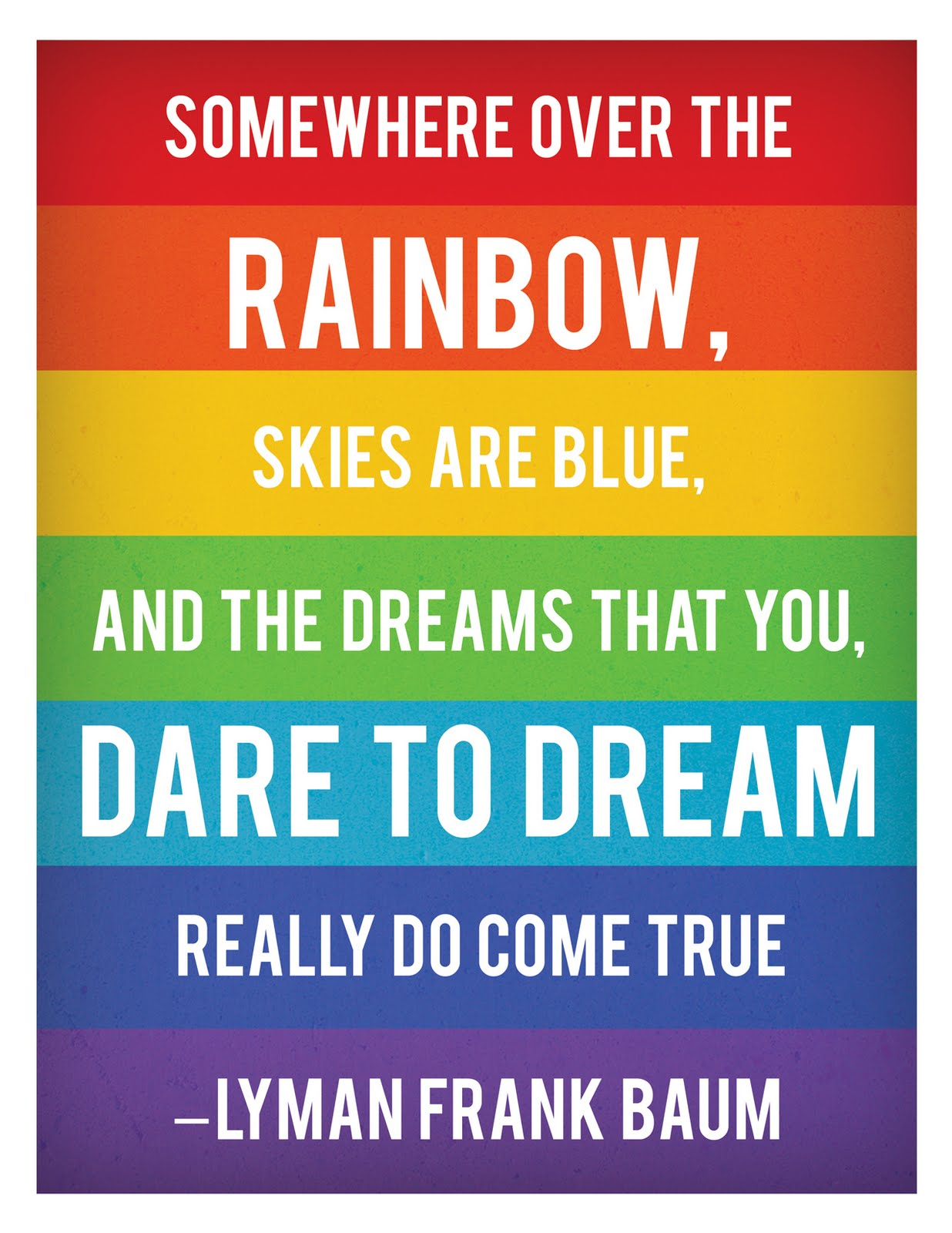 Somewhere over the rainbow, skies are blue, and the dreams that you. Dare to dream really do come true. Lyman Frank Baum