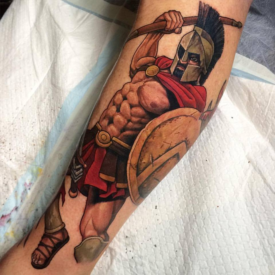 Spartan Warrior Tattoo Design For Sleeve By Crispy Lennox