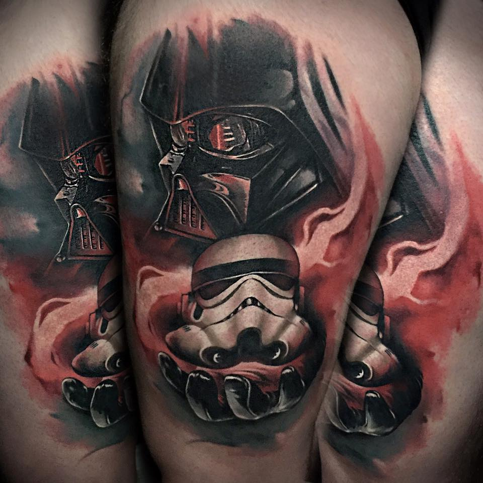 Star Wars Darth Vader With Stromtrooper Head Tattoo Design For Thigh By Benjamin Laukis