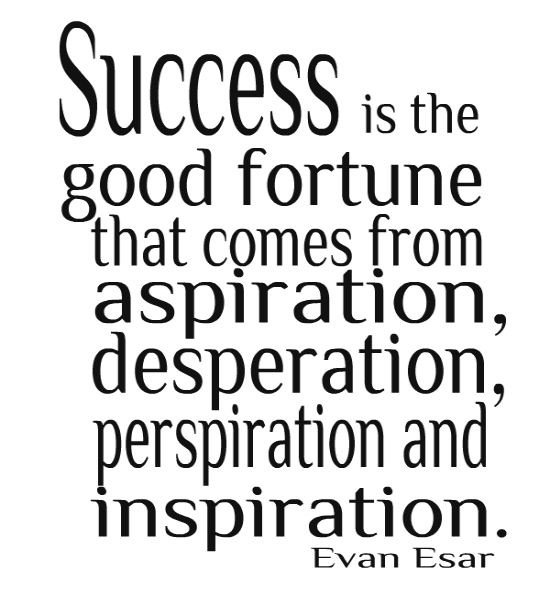 Success is the good fortune that comes from aspiration, desperation, perspiration, and inspiration. EVAN ESAR