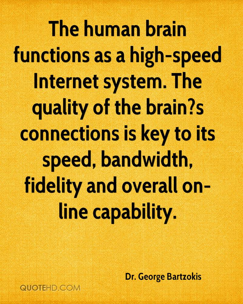 The human brain functions as a high-speed Internet system. The quality of the brain1s connections is key to its speed, bandwidth, fidelity.. Dr. George Bartzokis