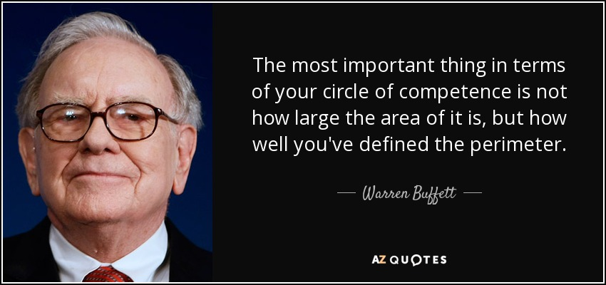 The most important thing in terms of your circle of competence is not how large the... Warren Buffett