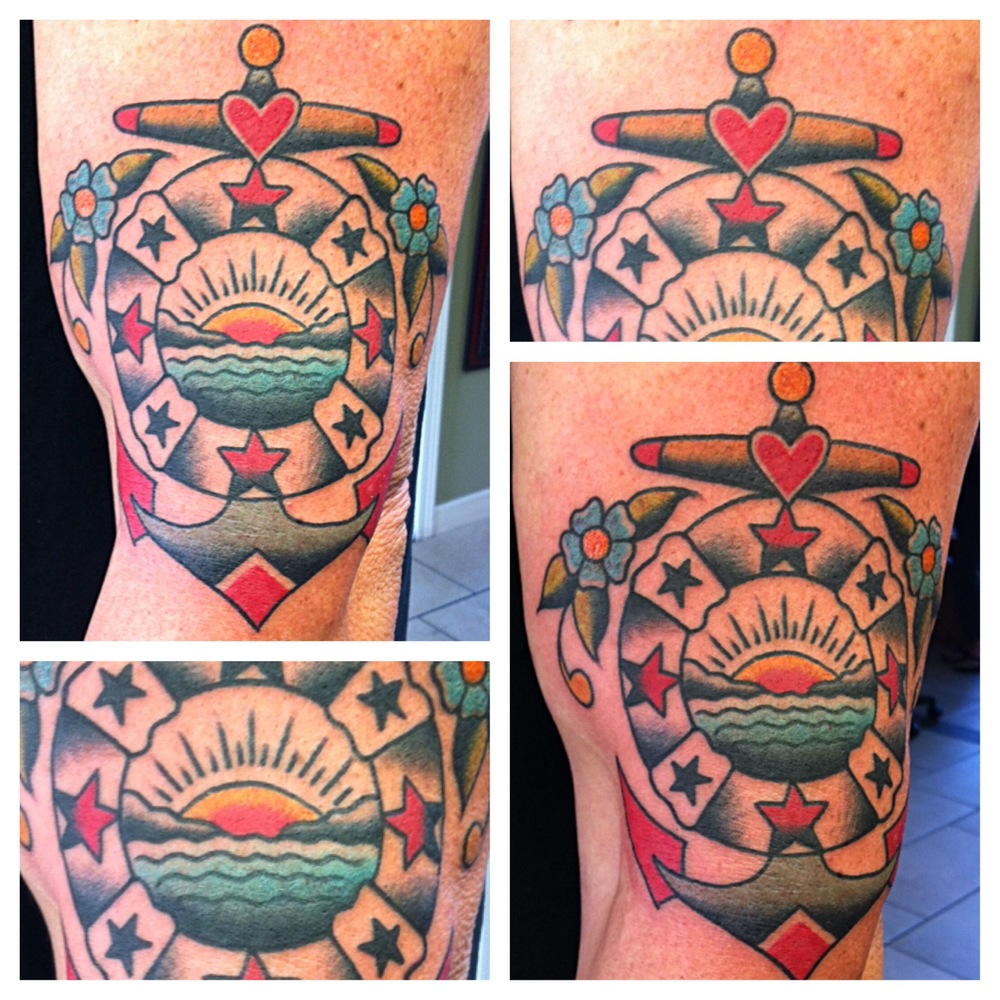 Traditional Anchor With Lifesaver Tattoo Design For Half Sleeve By Justin Brooks