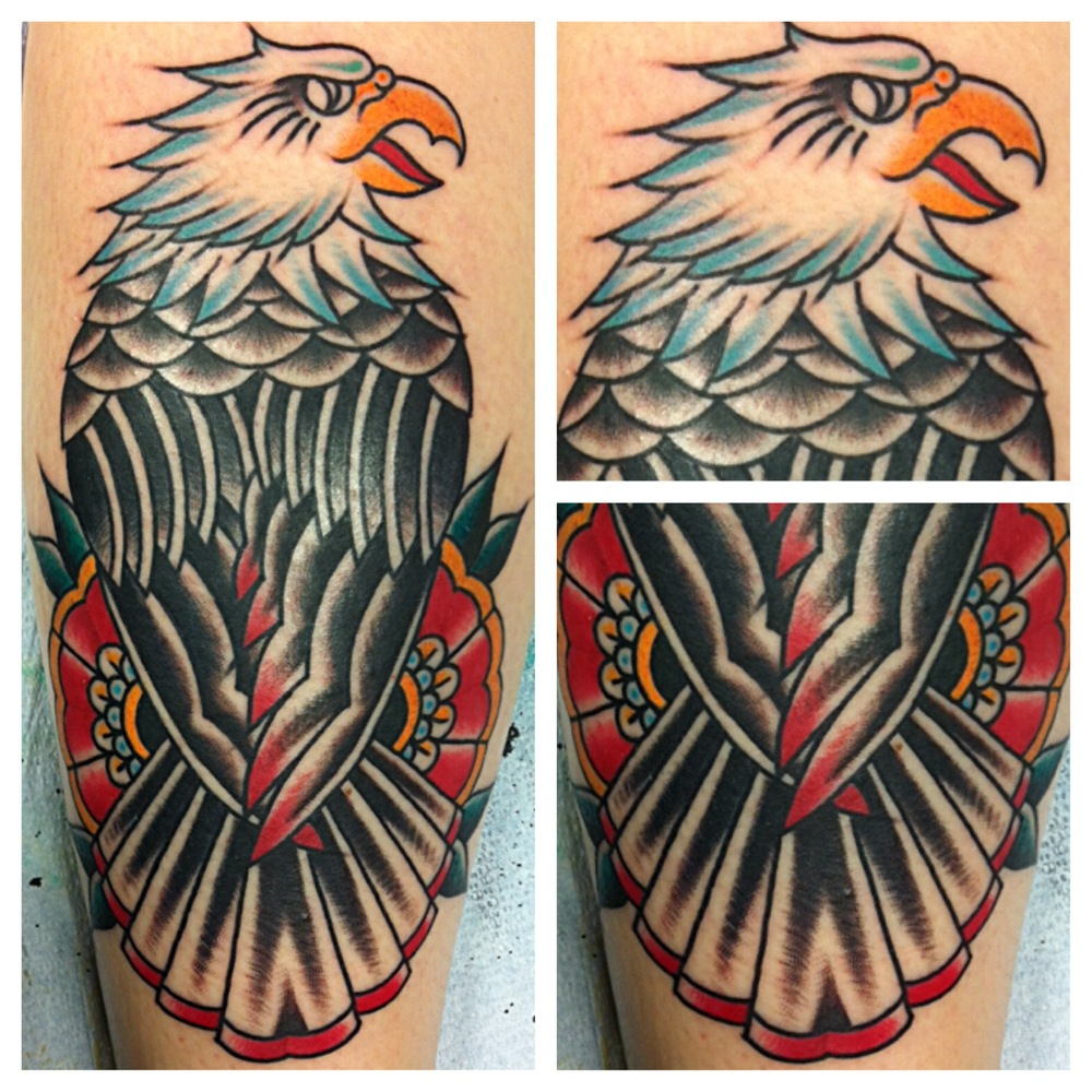 Traditional Eagle With Flower Tattoo Design For Half Sleeve By Justin Brooks