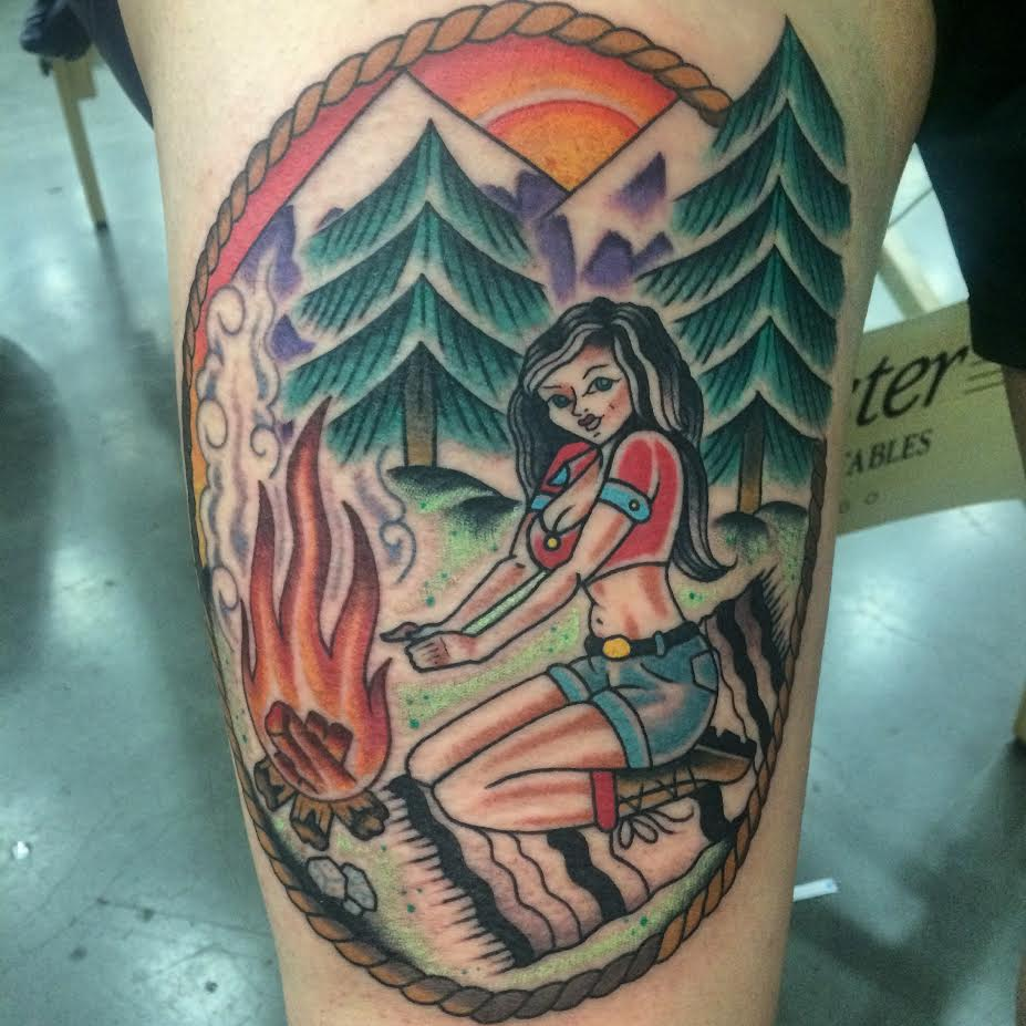 Traditional Girl With Bonfire In Rope Frame Tattoo On Leg By Justin Brooks