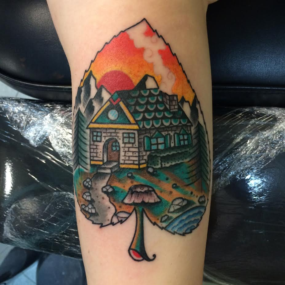 Traditional House In Leave Tattoo Design For Half Sleeve By Justin Brooks