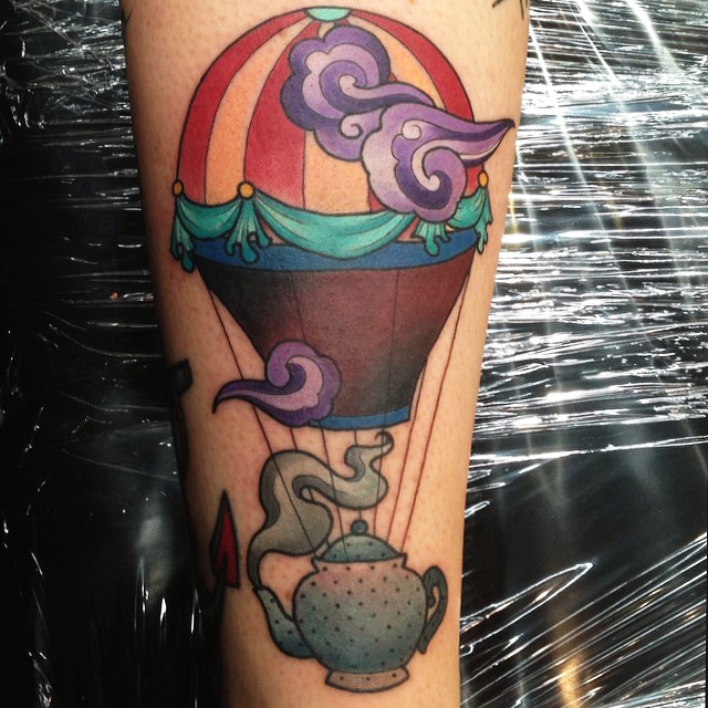 Traditional Kettle Hot Air Balloon Tattoo On Sleeve By Kitty Dearest