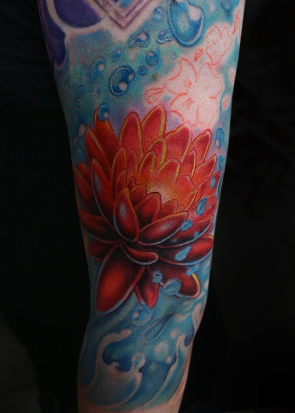 Traditional Lotus Flower In Water Tattoo Design For Sleeve By Kris W