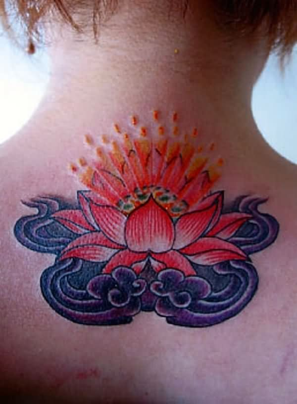 Traditional Lotus Flower In Water Tattoo On Girl Upper Back