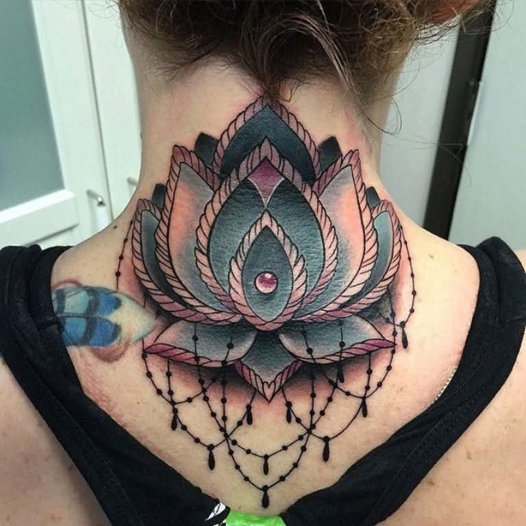 Traditional Lotus Flower Tattoo On Girl Back Neck By David Mushaney