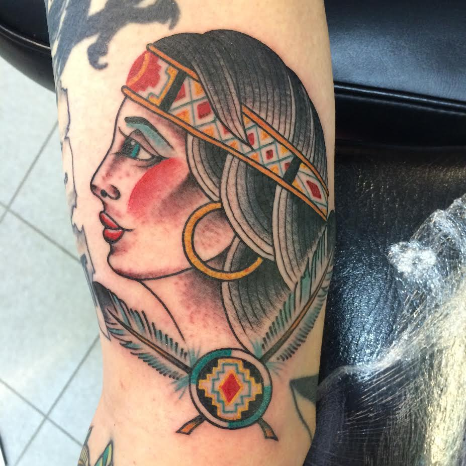 Traditional Native Girl Face Tattoo On Half Sleeve By Justin Brooks