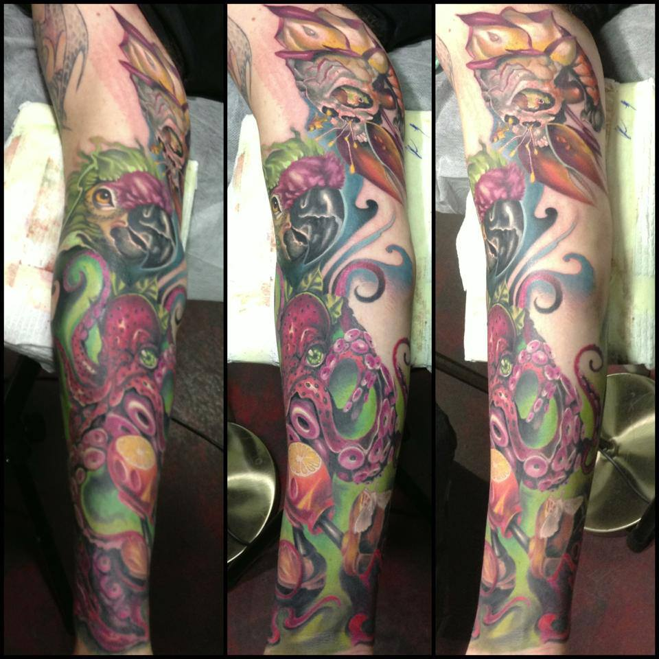 Traditional Parrot With Octopus Tattoo On Right Full Sleeve By Fabz