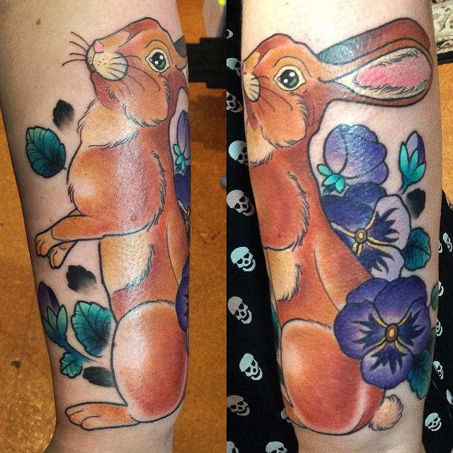 Traditional Rabbit Tattoo Design For Sleeve By Kitty Dearest