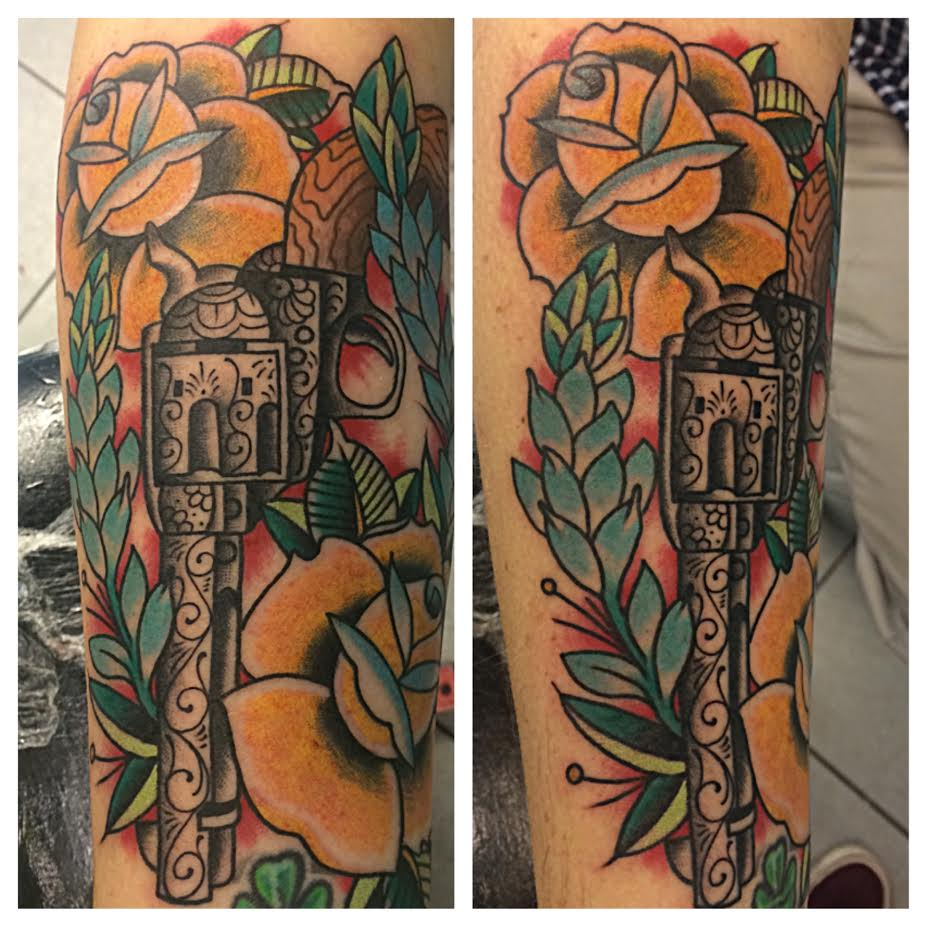 Traditional Revolver With Yellow Roses Tattoo On Sleeve By Justin Brooks
