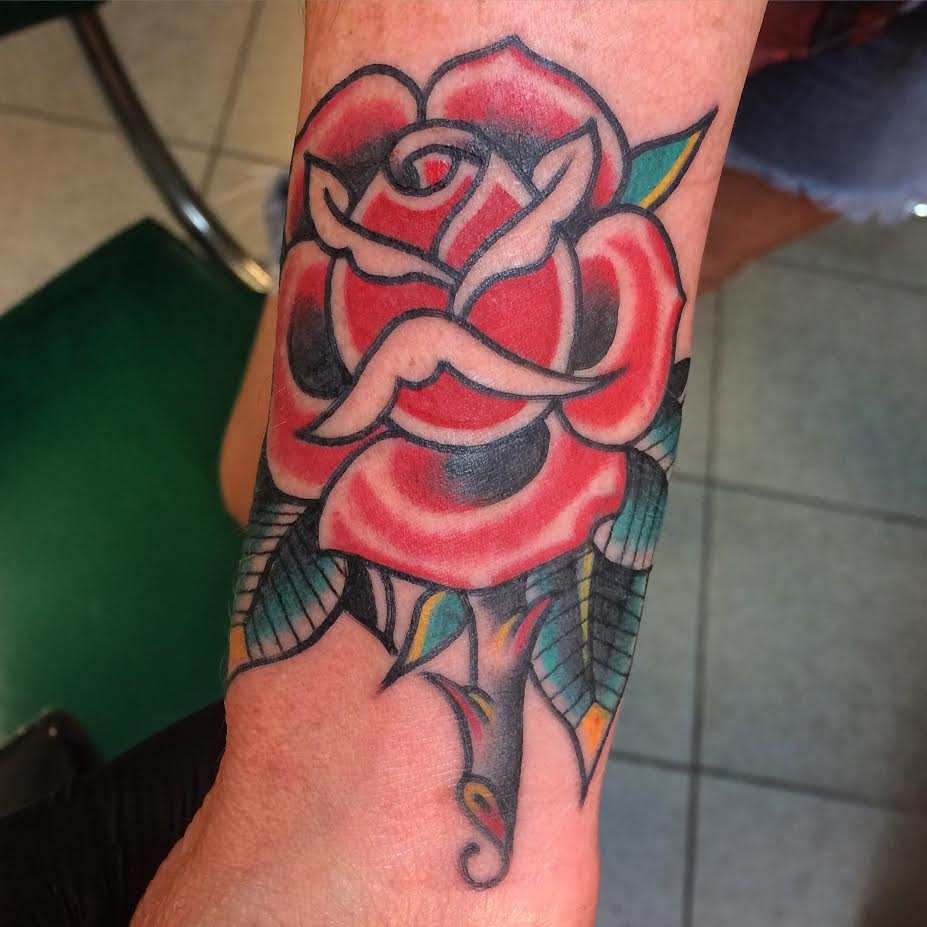 Traditional Rose Tattoo On Sleeve By Justin Brooks